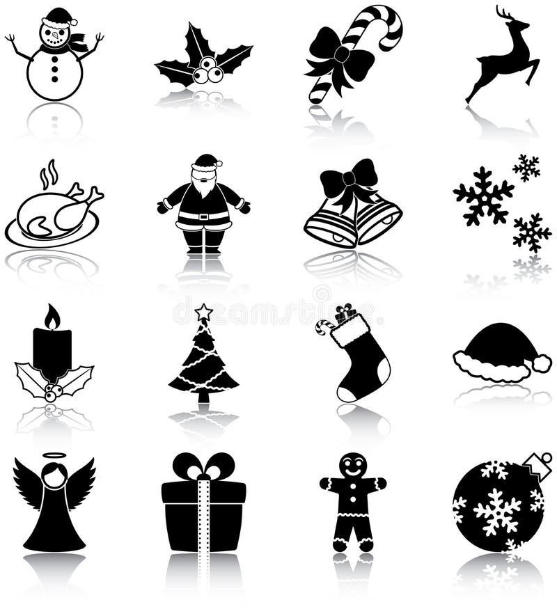 Icônes de Noël illustration stock