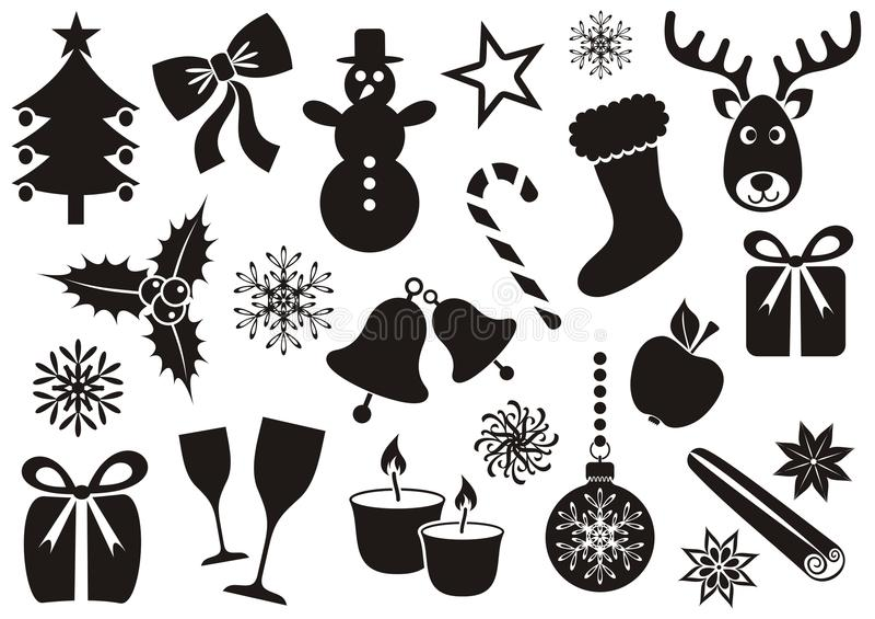 Icônes de Noël et d'hiver illustration stock