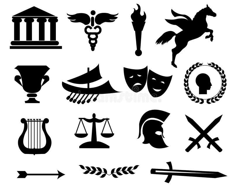 Icônes de noir de la Grèce illustration libre de droits
