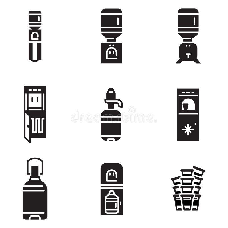 Icônes de noir de refroidisseur d'eau illustration libre de droits