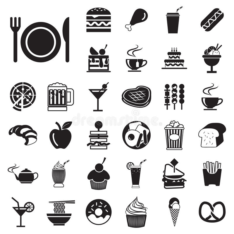 icônes de nourriture et de boissons de menu de vecteur réglées illustration de vecteur