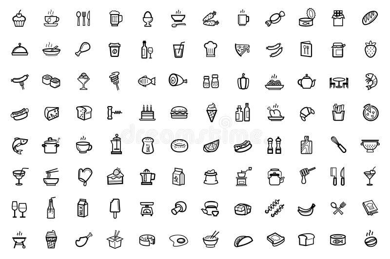 Icônes de nourriture réglées illustration stock
