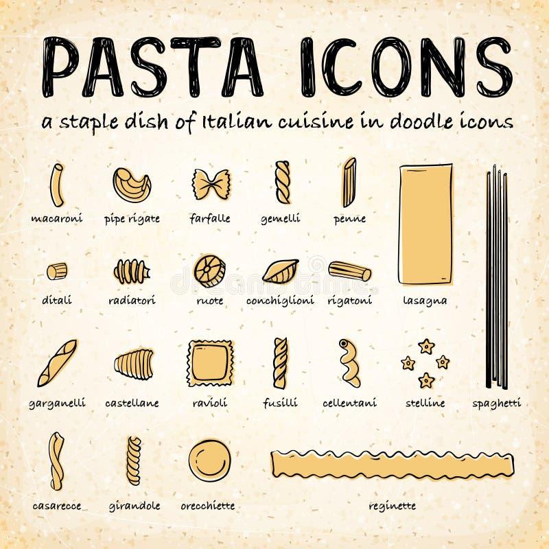 Icônes de pâtes de griffonnage de vecteur illustration libre de droits