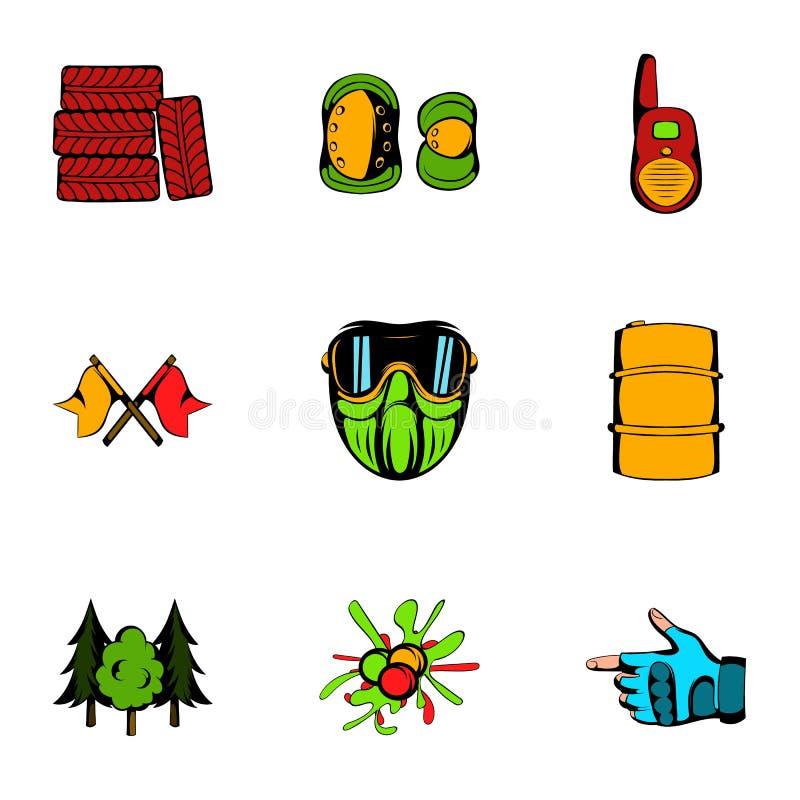 Icônes de Paintball réglées, style de bande dessinée illustration stock