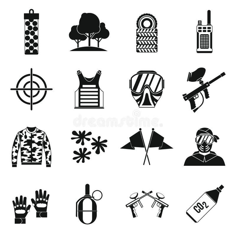 Icônes de Paintball réglées, style simple illustration stock
