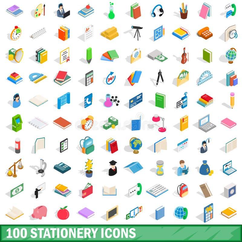 100 icônes de papeterie réglées, style 3d isométrique illustration de vecteur