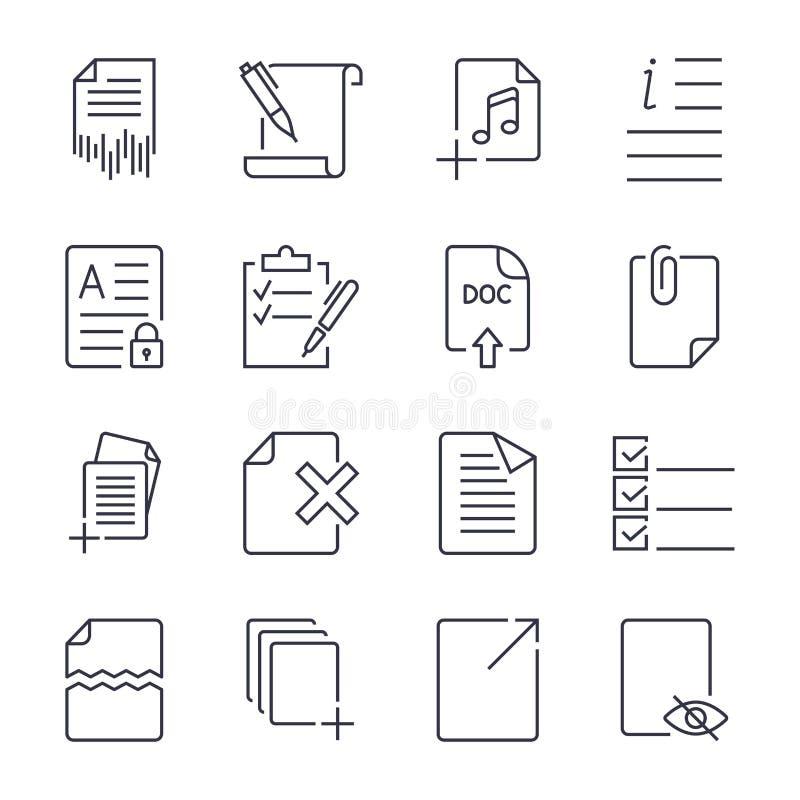 Ic?nes de papier Ic?nes de document Vecteur eps10 Ic?ne r?gl?e avec la course editable illustration de vecteur