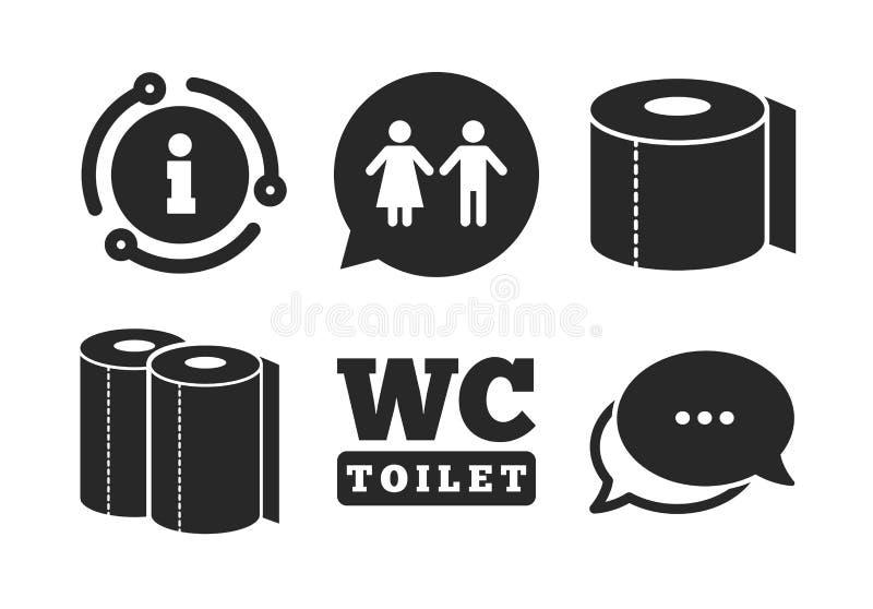 Ic?nes de papier hygi?nique. Monsieurs et toilettes pour dames. Vecteur illustration libre de droits