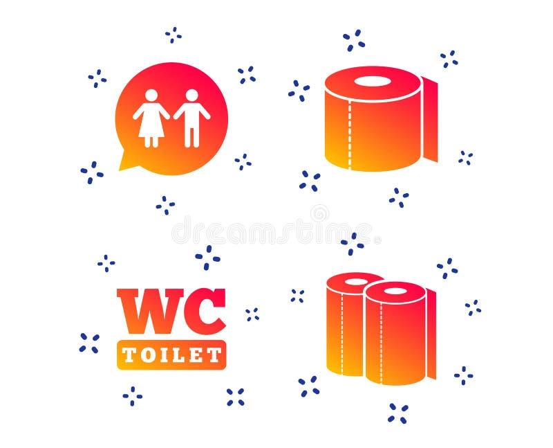 Ic?nes de papier hygi?nique Monsieurs et toilettes pour dames Vecteur illustration libre de droits