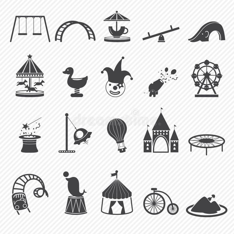 Icônes de parc d'attractions illustration de vecteur
