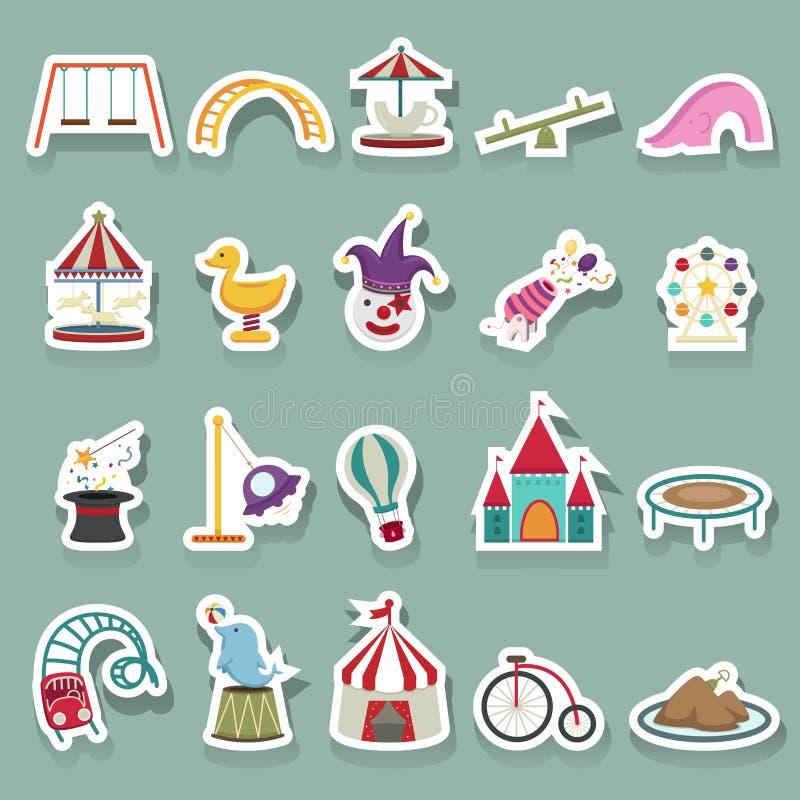 Icônes de parc d'attractions réglées illustration de vecteur