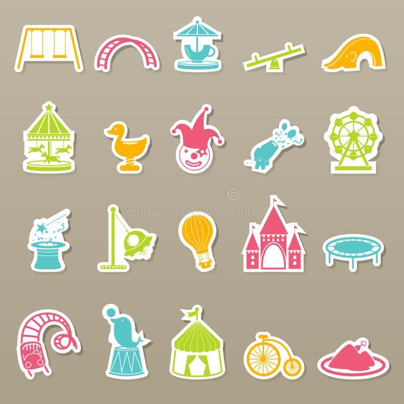Icônes de parc d'attractions réglées illustration stock