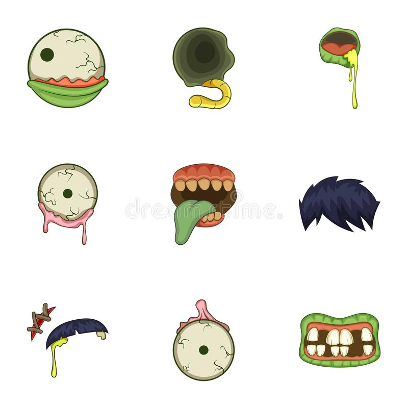 Icônes de partie du corps de zombi réglées, style de bande dessinée illustration libre de droits