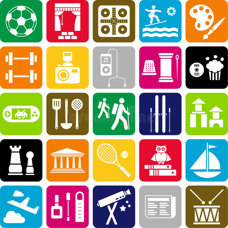 Icônes de passe-temps illustration de vecteur