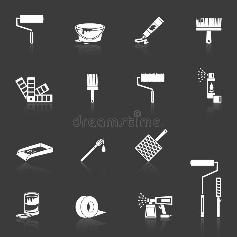 Icônes de peinture blanches illustration libre de droits