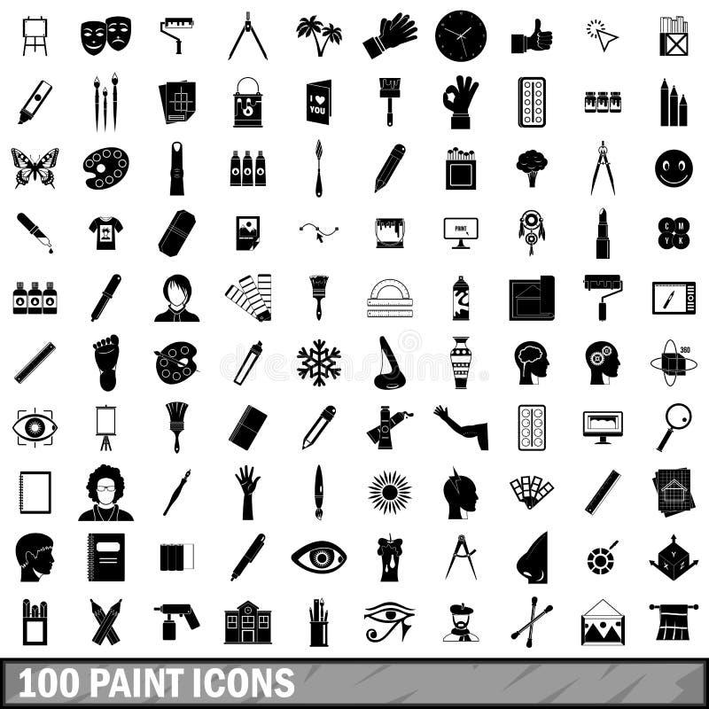 100 icônes de peinture réglées, style simple illustration libre de droits