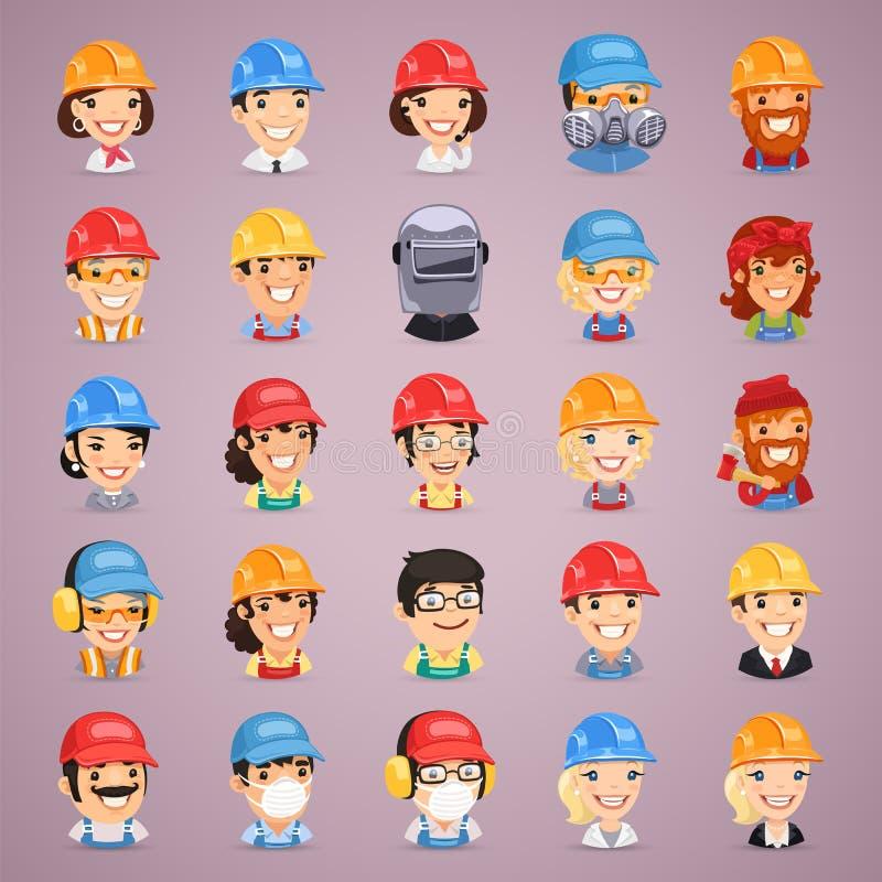 Icônes de personnages de dessin animé de constructeurs réglées illustration stock