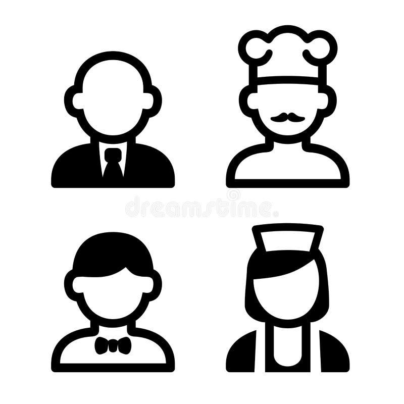 Icônes de personnel d'hôtel et de restaurant réglées Vecteur illustration stock