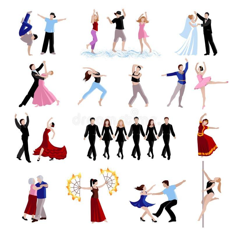 Icônes de personnes de danse réglées illustration stock