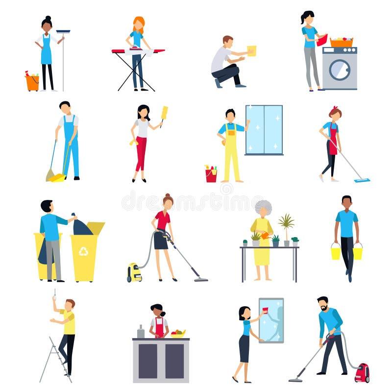 Icônes de personnes de nettoyage réglées illustration de vecteur