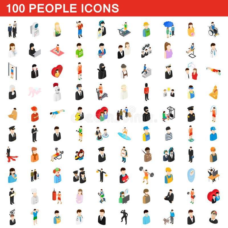 100 icônes de personnes réglées, style 3d isométrique illustration de vecteur