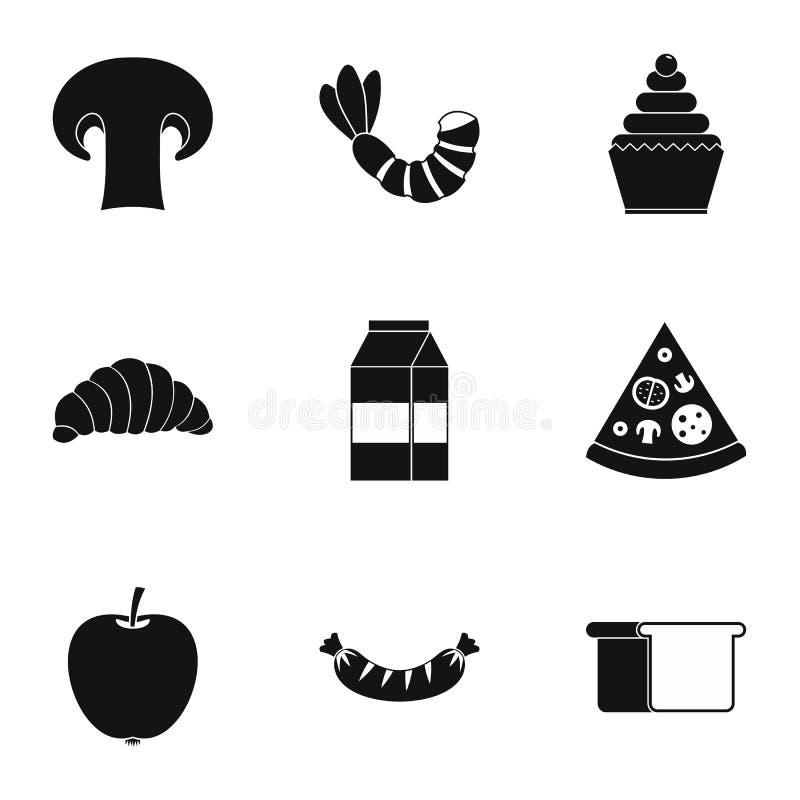 Icônes de petit déjeuner de matin réglées, style simple illustration stock
