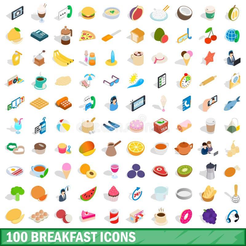 100 icônes de petit déjeuner réglées, style 3d isométrique illustration libre de droits