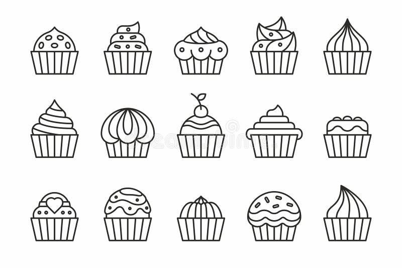 Icônes de petits gâteaux illustration de vecteur