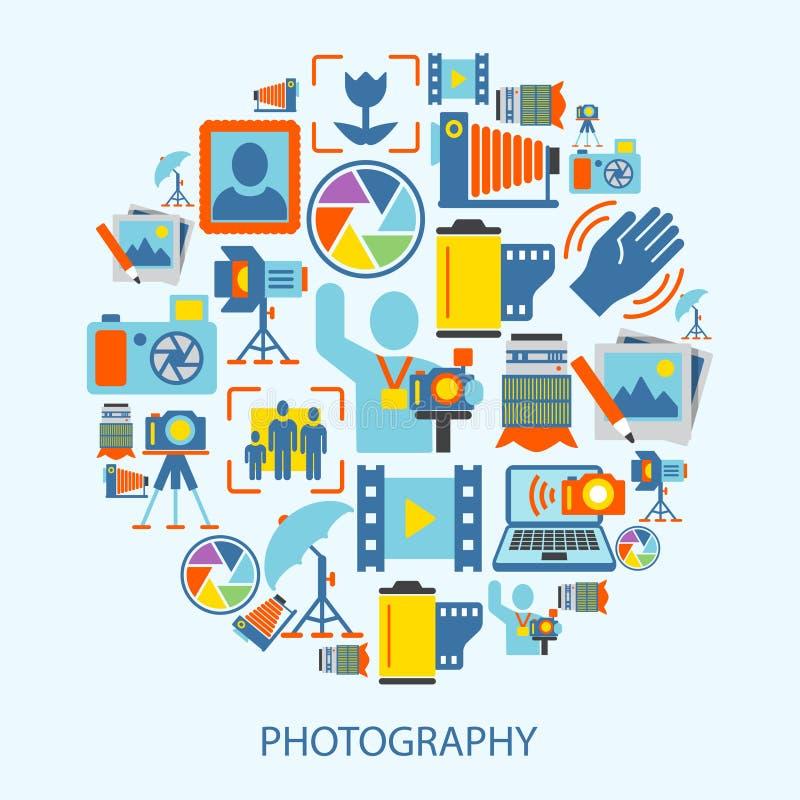 Icônes de photographie plates illustration stock
