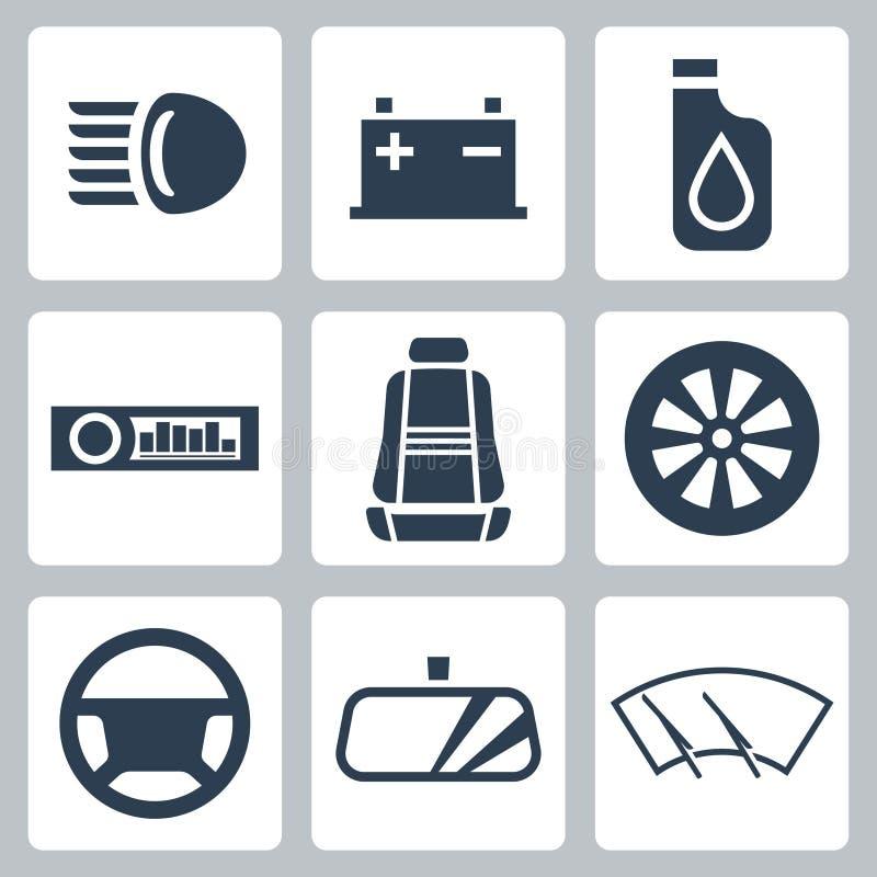 Icônes de pièces d'auto de vecteur réglées illustration de vecteur