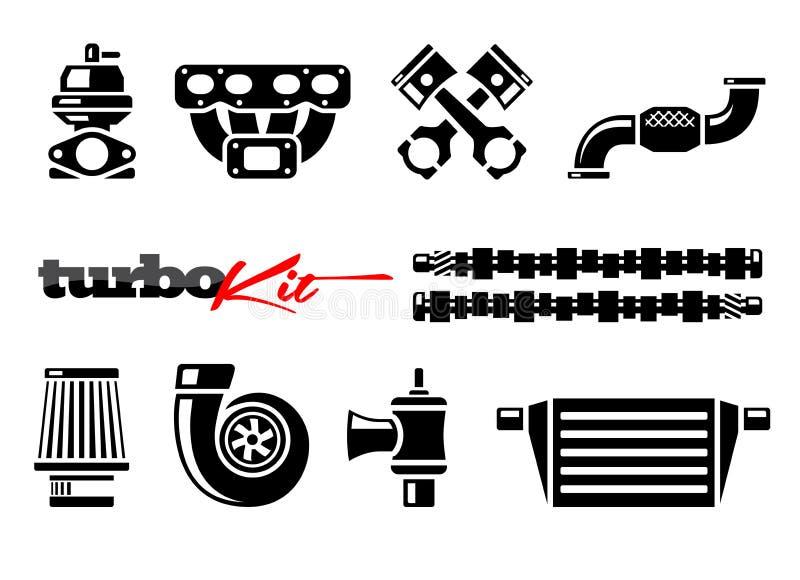 Icônes de pièces de voiture de performances de kit de turbo de véhicule réglées illustration libre de droits