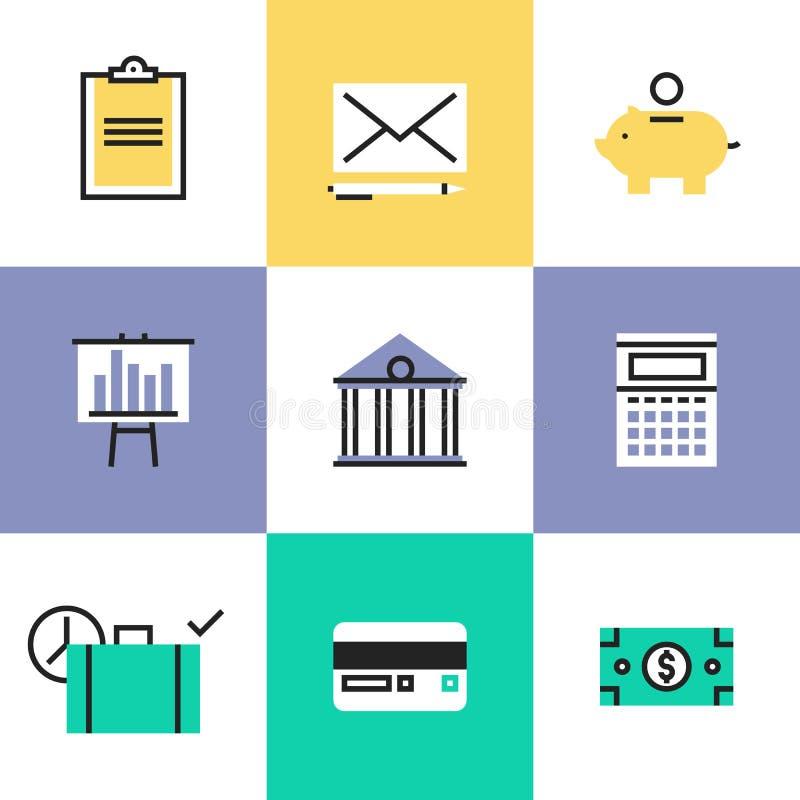 Icônes de pictogramme de finances et d'argent réglées illustration de vecteur