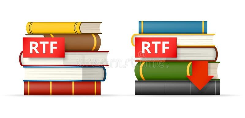Icônes de piles de livres de rtf illustration de vecteur