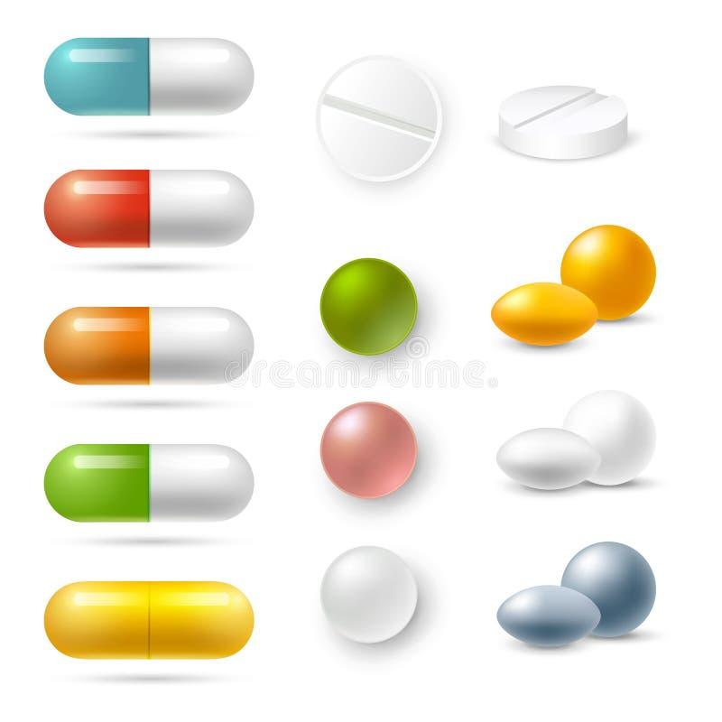 Icônes de pilules réglées illustration de vecteur