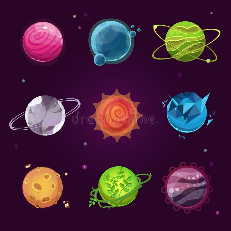 Icônes de planète pour le concepteur du jeu illustration de vecteur