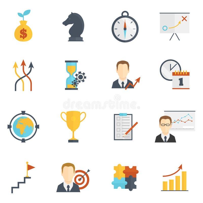 Icônes de planification de stratégie commerciale illustration de vecteur