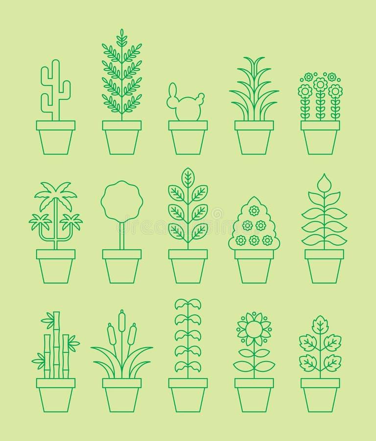 Icônes de plante d'intérieur illustration libre de droits