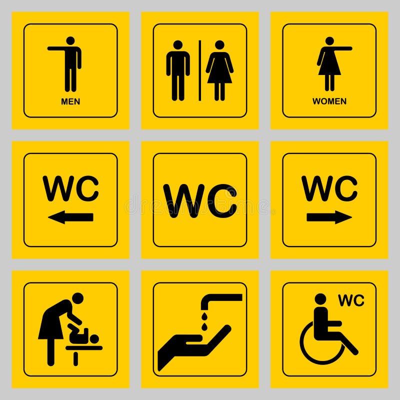 Icônes de plat de porte de carte de travail/toilette réglées Signe de carte de travail d'hommes et de femmes pour le repos illustration stock