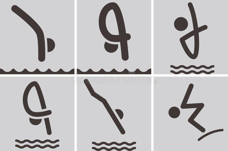 Icônes de plongée illustration libre de droits