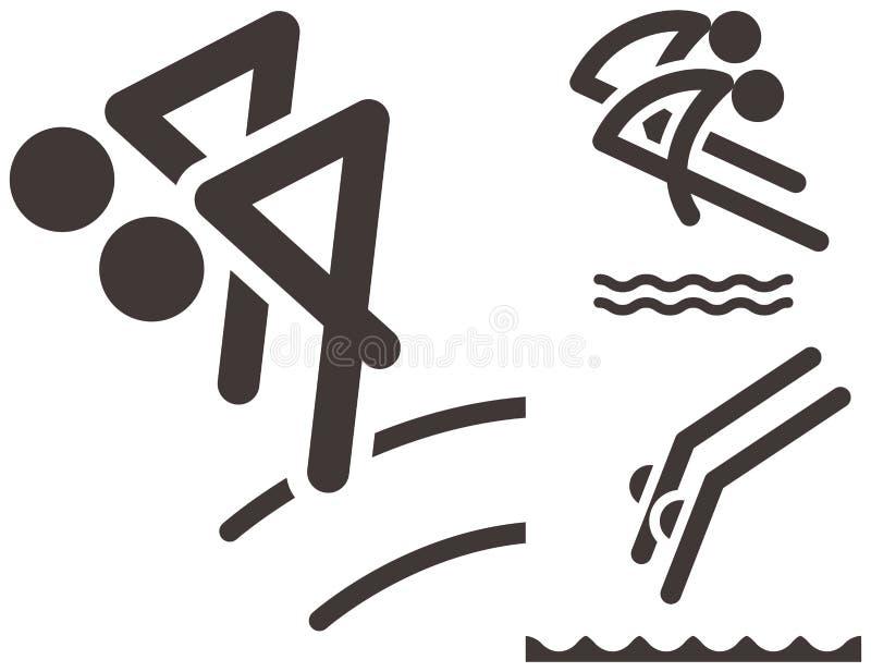 Icônes de plongée synchronisées illustration libre de droits