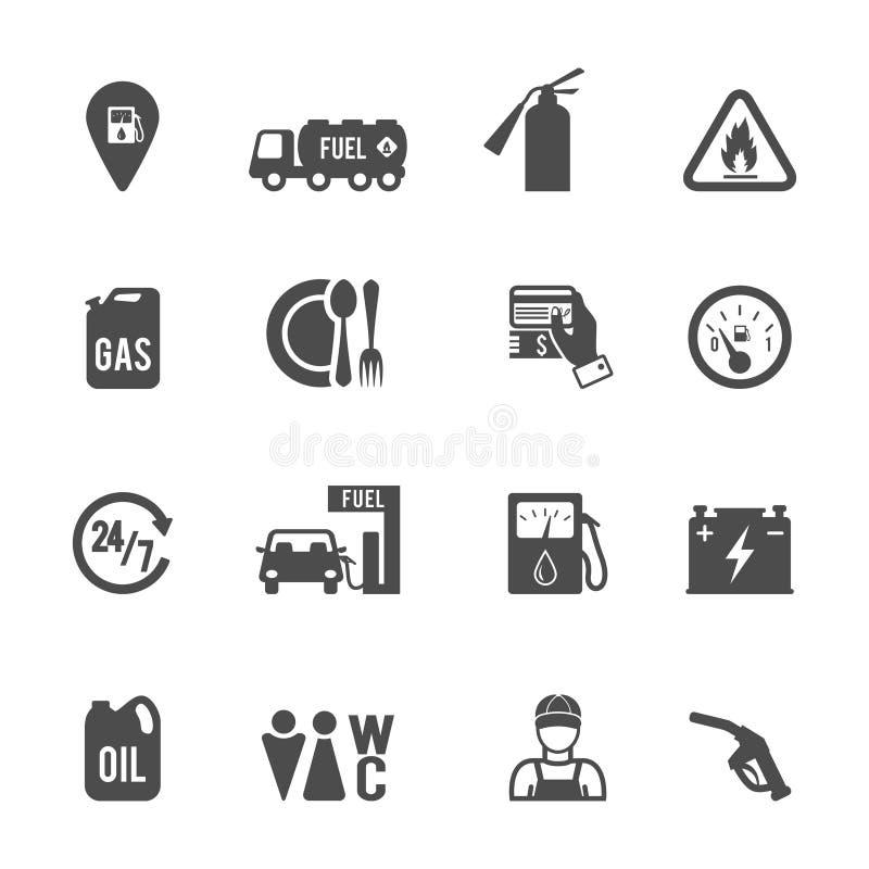 Icônes de pompe à essence réglées illustration libre de droits