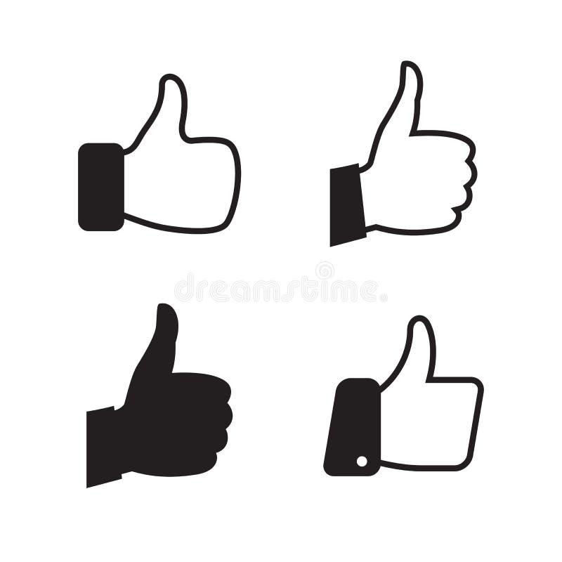 Icônes de pouce réglées illustration stock