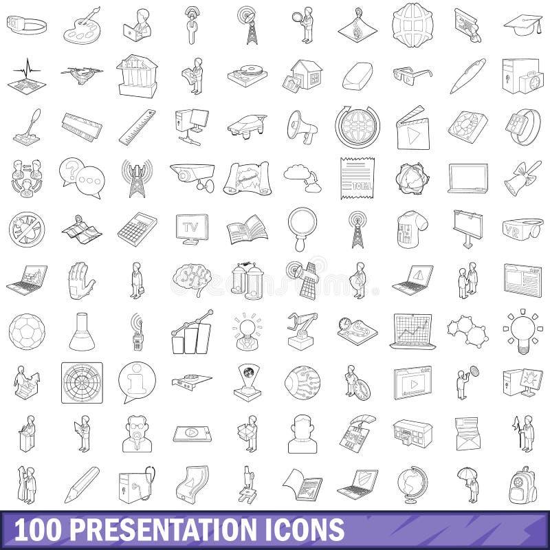 100 icônes de présentation réglées, style d'ensemble illustration de vecteur