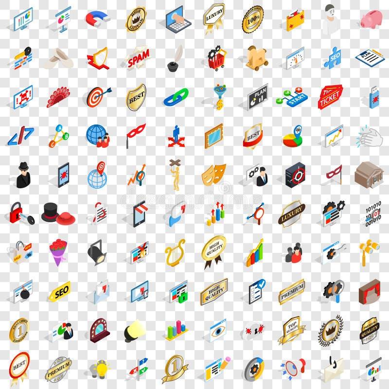 100 icônes de présentation réglées, style 3d isométrique illustration libre de droits