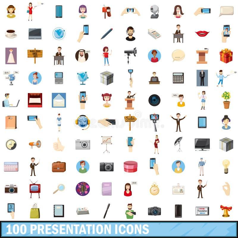 100 icônes de présentation réglées, style de bande dessinée illustration de vecteur