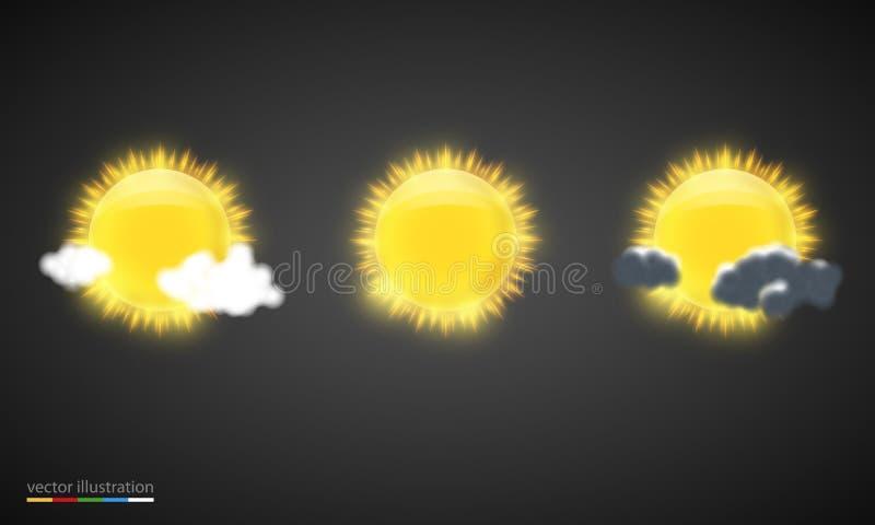 Icônes de prévisions météorologiques de vecteur illustration de vecteur