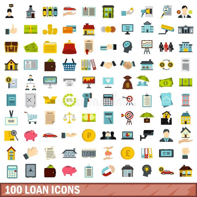 100 icônes de prêt réglées, style plat illustration libre de droits