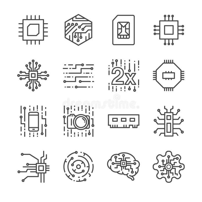 Icônes de processeur de puce de Digital réglées illustration libre de droits