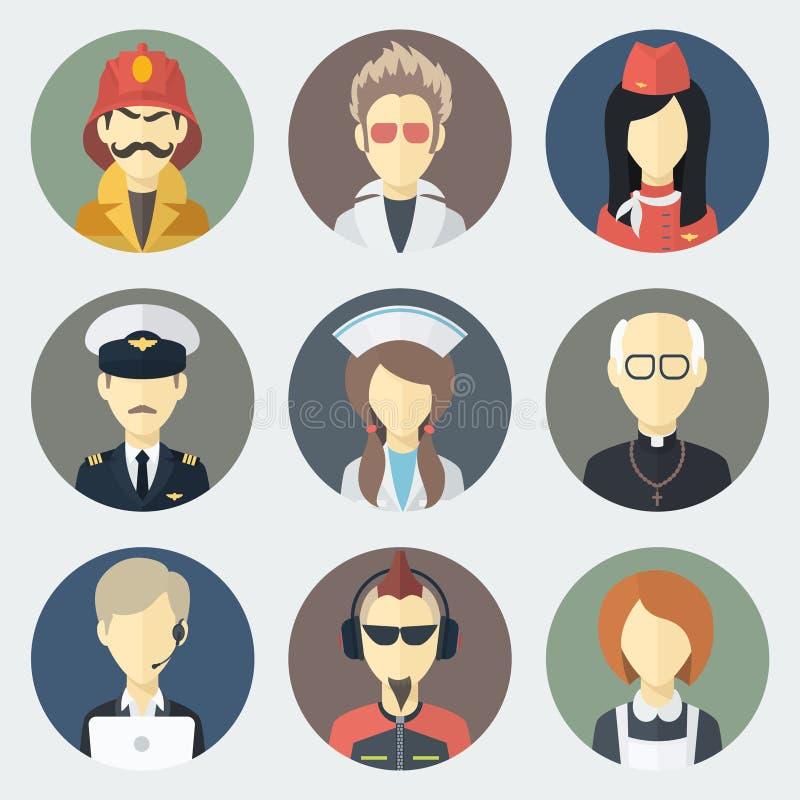 Icônes de professions réglées illustration de vecteur