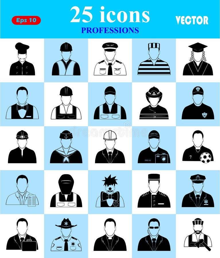 Icônes de professions réglées pour le Web et le mobile illustration stock